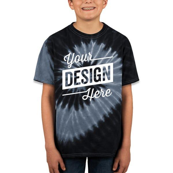 213e2d2d Custom Dyenomite Youth 100% Cotton Two-Tone Spiral Tie-Dye T-shirt ...
