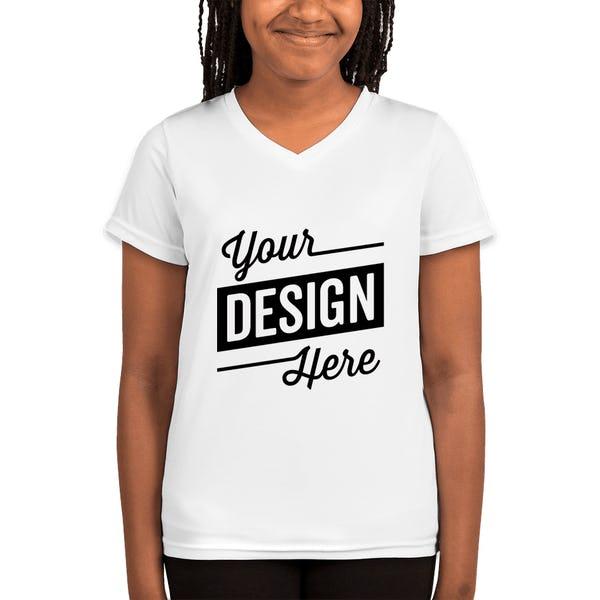 c67e9adef2f Custom Augusta Youth Girls V-Neck Performance Shirt - Design Kids ...