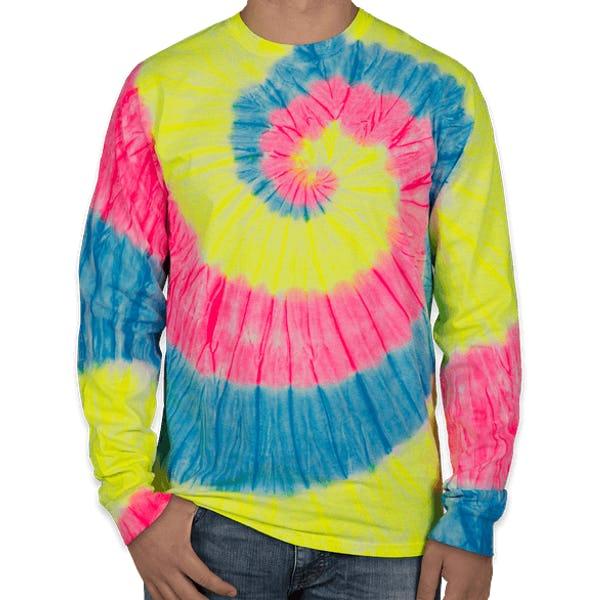 professionale arriva risparmi fantastici Custom Port & Company Tie-Dye Long Sleeve T-shirt - Design Long ...